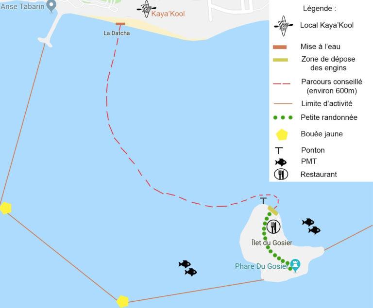 parcours datcha ilet gosier guadeloupe kayak et paddle location chez kayakool