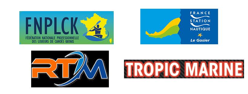 partenaires de kaya'kool centre de location de kayak et paddle en guadeloupe : la ville de gosier, RTM, FNPLCK, tropic marine